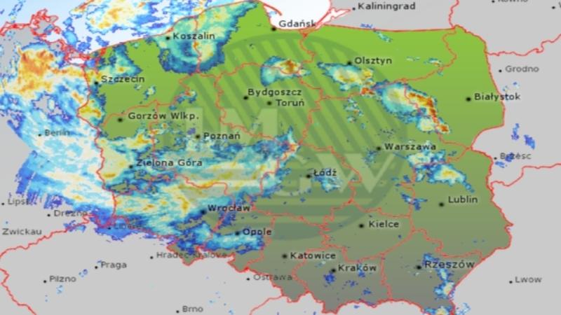 Radar opadów IMGW (godz. 21:30)