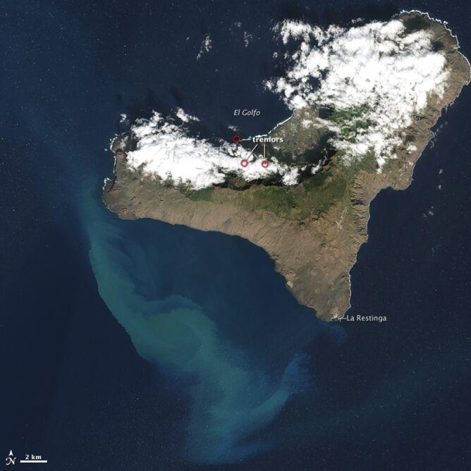 Tak El Hierro wyglądał 16 grudnia (NASA)
