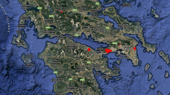 Pożary w Attyce - 24 lipca godzina 15.00 (EFFIS-Copernicus)