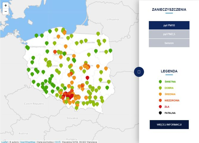 Stężenie pyłu PM10 o godzinie 7.30 (tvnmeteo.pl za GIOŚ)