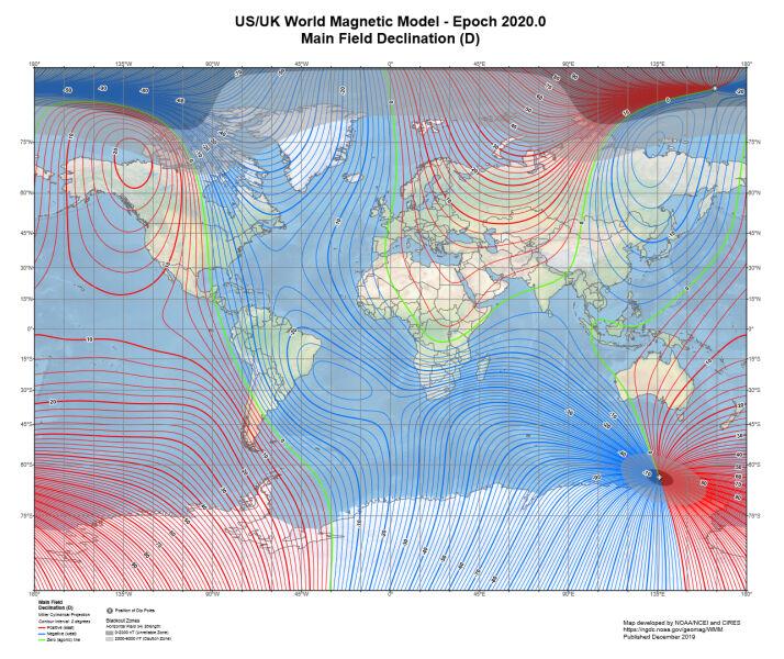 Model pola magnetycznego Ziemi (NOAA/NCEI/CIRES)