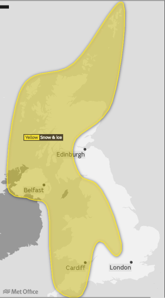Ostrzeżenia meteorologiczne na sobotę (Met Office)